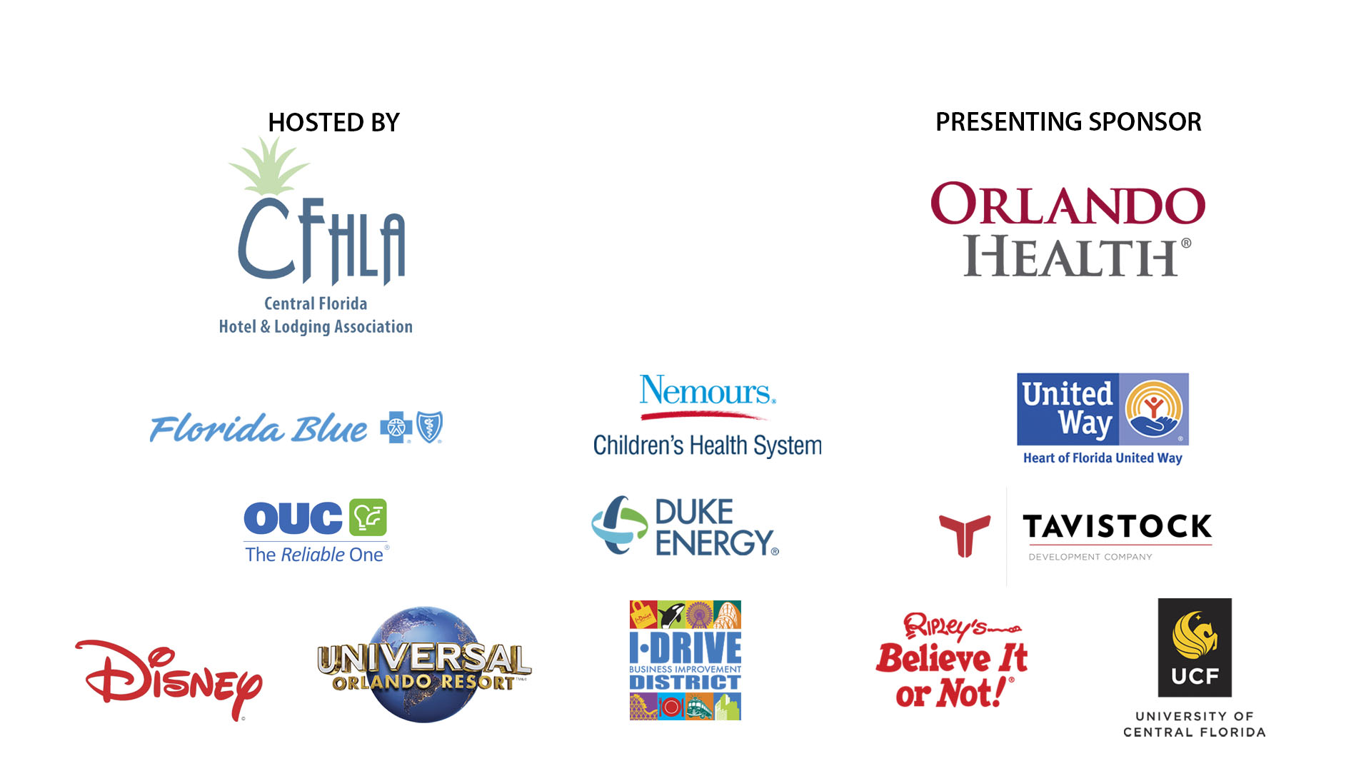 Sponsor logos for Hosting sponsor CFHLA, Presenting sponsor Orlando Health, as well as OUC, Duke Energy, Florida Blue, Nemours Children's Health System, United Way, Tavistock, Disney, Universal Orlando Resort, I-Drive Business Improvement District, Ripley's Believe it or Not!, and the University of Central Florida.
