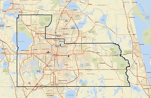Mapa de las ubicaciones de los eventos
