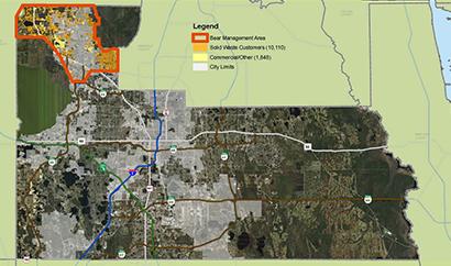 un mapa con el área de control de osos resaltado