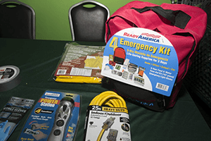 An emergency kit with supplies