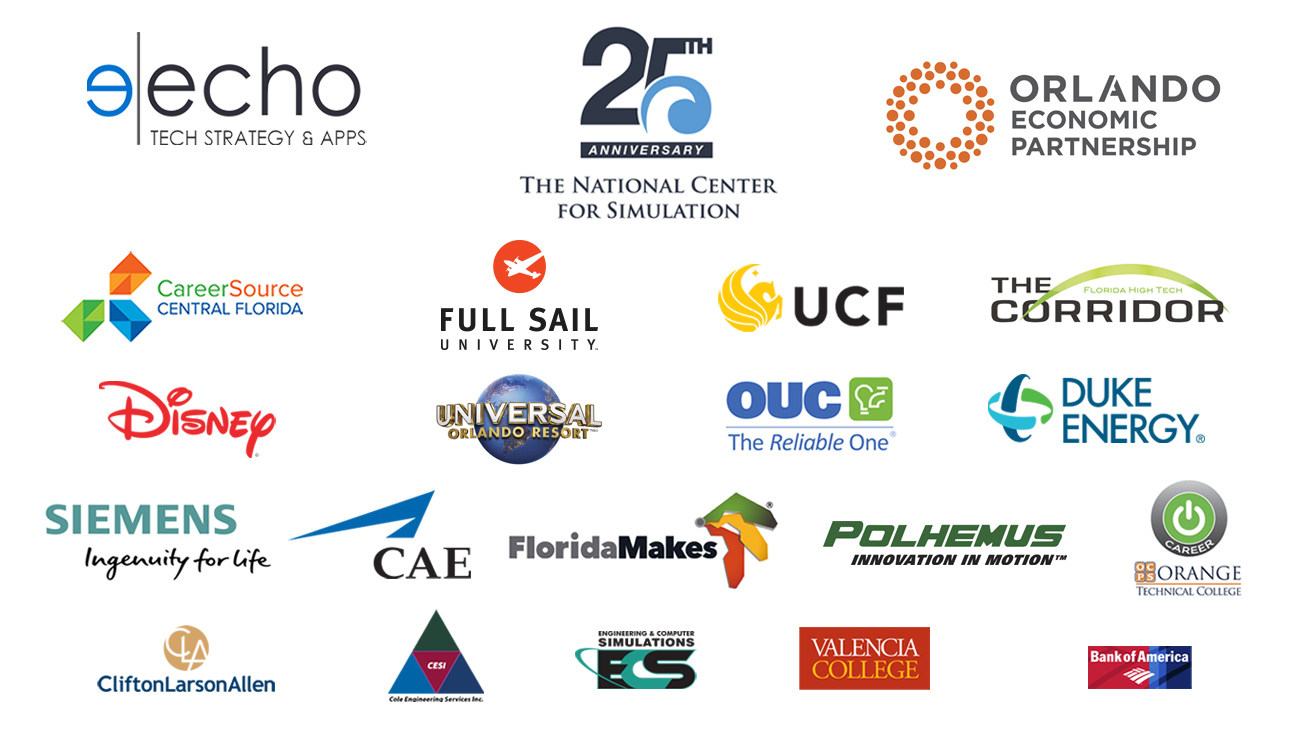Sponsor logos for Echo Tech Strategy and Apps, The National Center for Simulation, Orlando economic partnership, Duke Energy, Florida makes, University of Central Florida, The Tech Corridor,  Orange technical college, career source central florida, OUC the reliable one, Siemens, Full Sail university, Disney, Universal Orlando Resort, Polhemus, Siemens, CAE, Cliffton Larson Allen, CESI, ECS, Valencia College and the Bank of America.