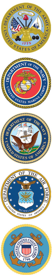 Logos of the five military branches including the army, the navy, the national guard, the air force, and the marines