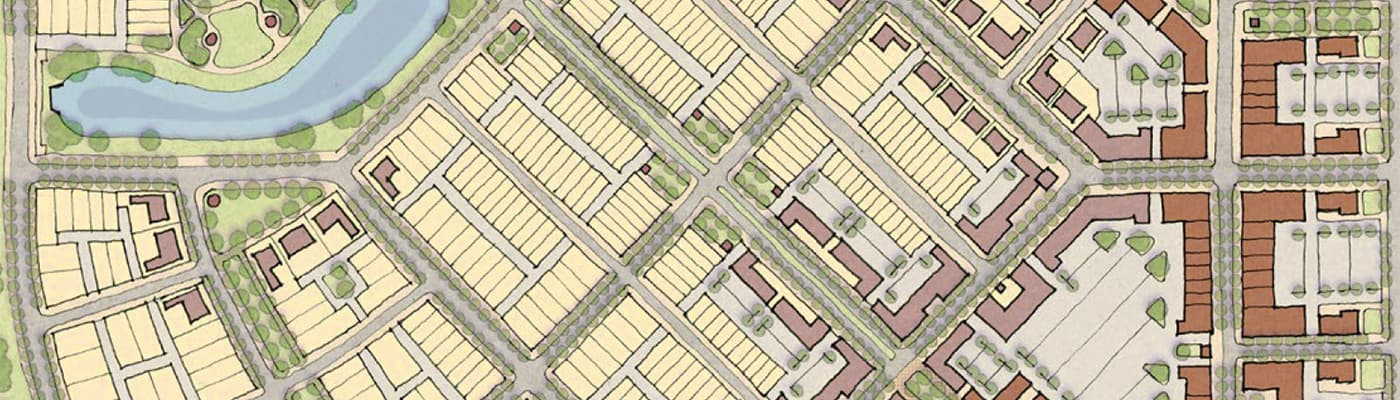 A drawing of a neighborhood map viewed from above showing property lines and other features like streets