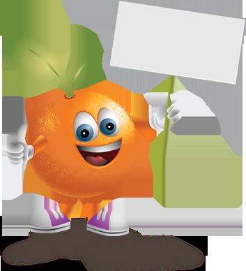 Imagen de una naranja animada llamada Andy sosteniendo un cartel